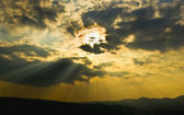 Dramatic sunbeam sky — Stock Photo