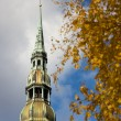 Foto Stock: Peter's Cathedral in autumn in Riga