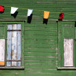 Stockfoto: Boarded-up windows on holiday