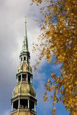 Peter's Cathedral in the autumn in Riga — Stock Photo
