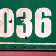 The inscription on board an old steam locomotive - Stock Photo