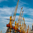 Large harbor cranes - Stock Photo