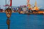 Crane hook on the background of the port — Stock Photo