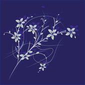 Branch with flowers against a blue background — Stock Vector