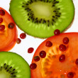 Tomatoes and kiwi — Stock Photo