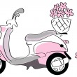 Stock Vector: Pink scooter with flowers