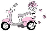 Pink scooter with flowers — Stock Vector