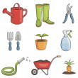 Gardening icon set - Stock Vector