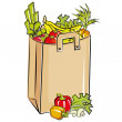 Bag full of fresh groceries - Stock Vector