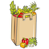 Bag full of fresh groceries — Stock Vector