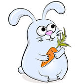 Funny rabbit with carrot — Stok Vektör