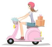 Girl riding a scooter — Stock Vector