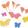Animated children's hand-drawn butterflies - 图库矢量图片