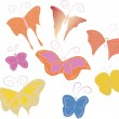 Animated children's hand-drawn butterflies - Stok Vektör