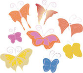 Animated children's hand-drawn butterflies — Stock Vector