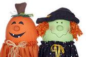 Personnages de citrouille et sorcière halloween — Photo