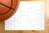 Basketball Tournament Bracket and Basketball — Stockfoto