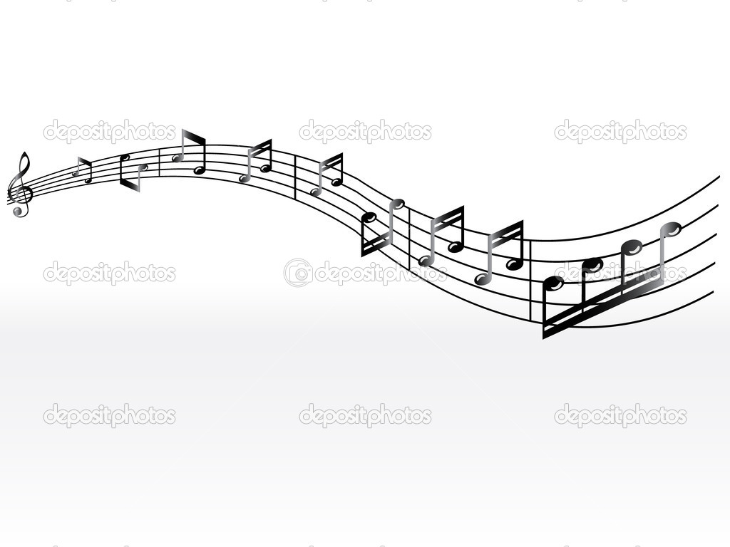 Musical background with classical black notes on the white — Stock Vector #5467861