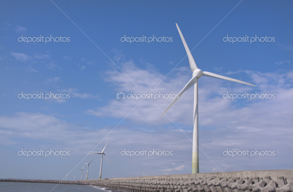 Wind power group at the Shore ,one of the new energy in future  Stock Photo #6204367