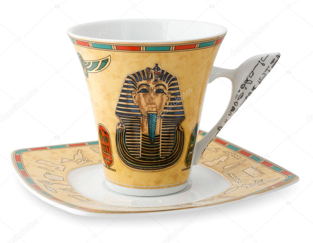 Egyptian cup and saucer isolated on white — Stock Photo #5627552