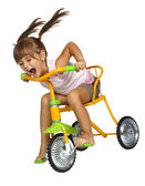 Girl drive fast bicycle — Stock Photo