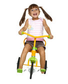 Child girl drive bicycle — Stock Photo
