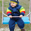 Happy boy on swing - Stok fotoraf
