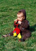 Little boy on green grass — Stock Photo