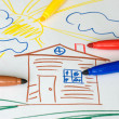 Stock Photo: Color markers on child's drawing
