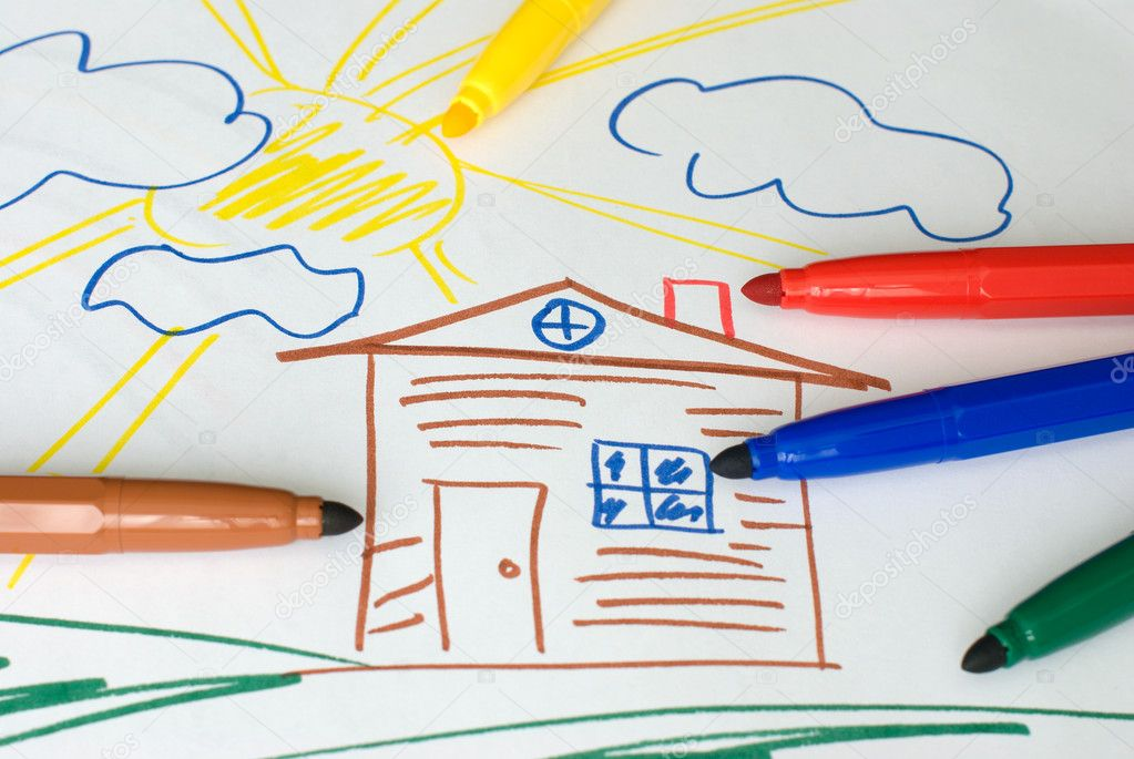 Color markers on a child's drawing — Stock Photo #6725868