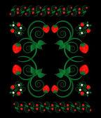 Erdbeere mit blumen — Stockvektor