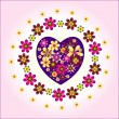 Heart decorative with circle  flowers — Stockvektor