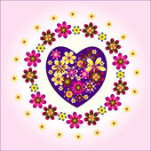 Heart decorative with circle flowers — Stock Vector