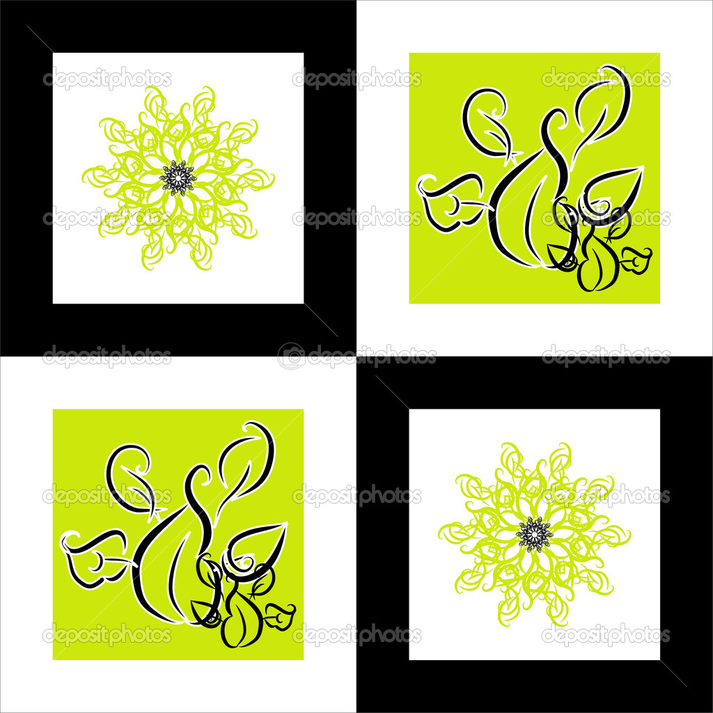 Pattern flower square background  — Stock Vector #5602873