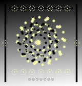 Circle star on black background — Stock Vector
