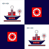 Ship square background — Stock Vector