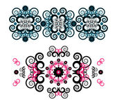 Horizontal ornament with flower — Stock Vector