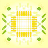 Square pattern with wheat and flower — Stock Vector