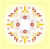 Cadre décoratif avec du blé et de fleurs — Vecteur