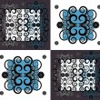 Pattern with flower on square background — Imagens vectoriais em stock