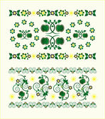 Horizontal ornament with flower — Vector de stock