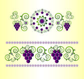 Horizontal ornament with flower — Vettoriale Stock