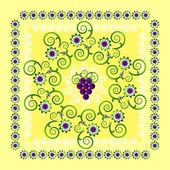 Circle pattern with flower — Vettoriale Stock