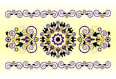Horizontal ornament with flower — Vetorial Stock