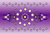 Ornamento orizzontale con iris — Vettoriale Stock