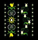 Ornamento vertical com a lily — Vetorial Stock