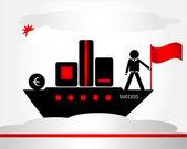 Man på fartyget — Stockvektor