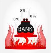 Borsa in fuoco — Vettoriale Stock