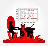 Stress man in office — Stock Vector