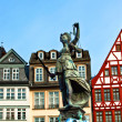Statue of Lady Justice in front of the Romer in Frankfurt - Germ — Stock Photo #5519926